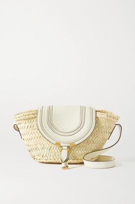 Chloé Marcie Leather-trimmed Raffia Shoulder Bag - White