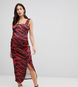 True Violet Maternity scuba square neck bodycon midi dress in tiger print