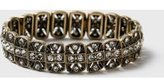 Dorothy Perkins Womens Burnished Gold Rhinestone Stretch Bracelet- Clear