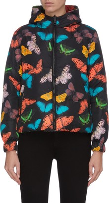 Alice + Olivia 'Durham' butterfly print reversible hooded puffer jacket