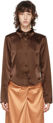 Nanushka Brown Satin Alice Shirt