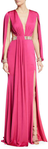 Jovani Jersey Gown w/ Beaded Belt & Cuffs