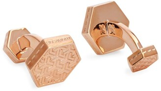 Harrods Rose Gold-Plated Hexagonal Patterned Cufflinks