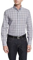 Neiman Marcus Tight-Check Long-Sleeve Sport Shirt, White