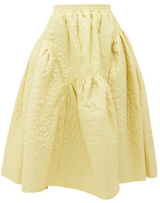 Cecilie Bahnsen - Eve Quilted-silk Midi Skirt - Womens - Yellow