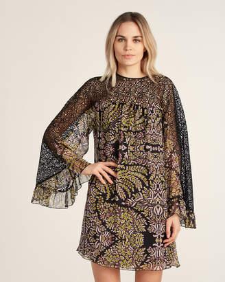 Giamba Crochet Lace Floral Print Shift Dress