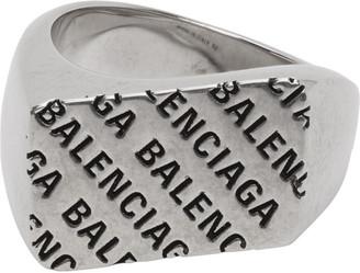 Balenciaga Silver Precious Logo Rectangle Ring