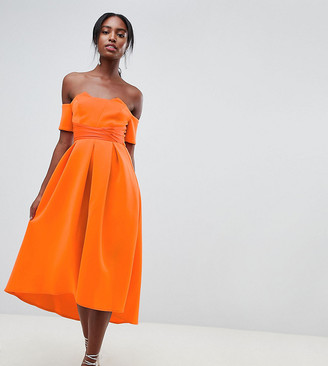 Asos Tall ASOS DESIGN Tall bardot pleated waist scuba midi prom dress