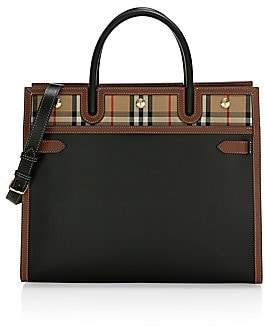 Burberry Women's Large Title Vintage Check Leather Satchel
