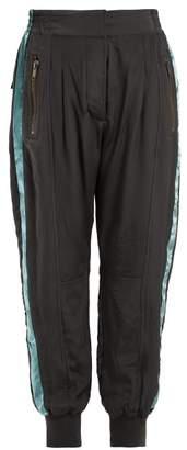 Haider Ackermann Sophora Velvet-trimmed Silk-charmeuse Track Pants - Womens - Dark Grey