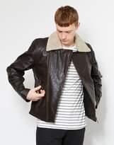 Nudie Jeans Greger Aviator Leather Jacket Brown