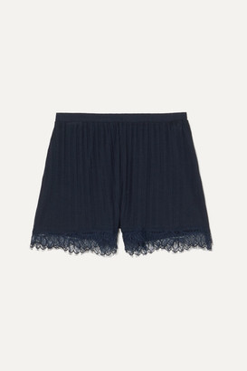 Skin - Bree Lace-trimmed Ribbed Pima Cotton-jersey Pajama Shorts - Navy