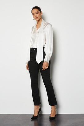 Karen Millen Power Stretch Black Kick Crop Jeans