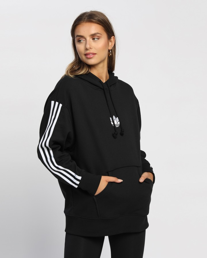 adidas Women's Black Hoodies - LOUNGEWEAR Adicolor 3D Trefoil Oversize Hoodie - Size 8 at The Iconic