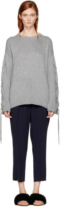 See by Chloe Grey Lace Up Sweater