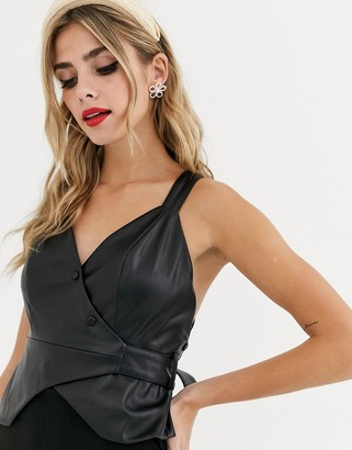 Skylar Rose backless structured cami top in faux leather