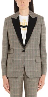 Stella McCartney Contrasting Collar Plaid Blazer