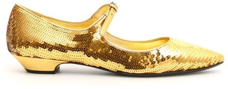 Miu Miu Sequinned Flat Shoes