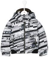 John Galliano racing car print padded jacket