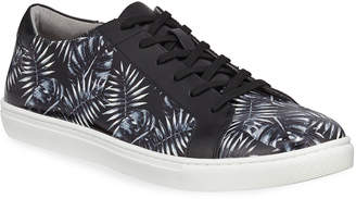 Kenneth Cole Men's Kam Leaf-Print Leather Sneakers