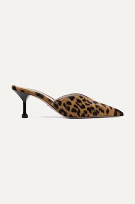 Prada 70 Leopard-print Calf Hair Mules - Animal print