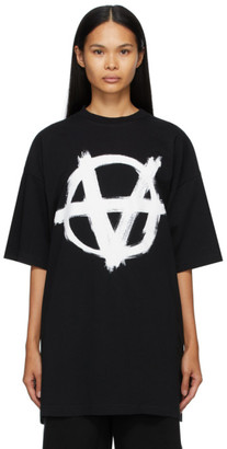 Vetements Black Print Anarchy Gothic Logo T-Shirt