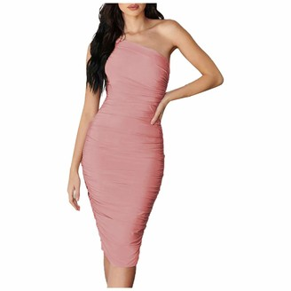 Your New Look Women's Solid Color One Shoulder Bodycon Dress Sexy Sleeveless Mini Dress Slim Pencil Dress for Party Club Evening Pink