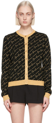 Versace Black and Gold GV Signature Pattern Cardigan