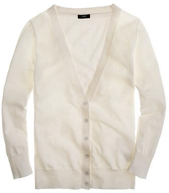 Featherweight cotton V-neck cardigan
