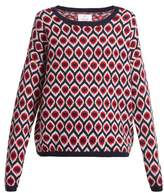 Allude Round-neck intarsia knitted wool-blend sweater