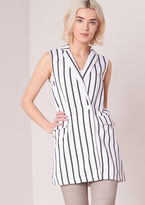 Missy Empire Kerrie White Striped Longline Waistcoat