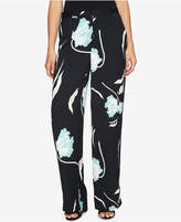 1 STATE 1.STATE Printed Flat-Front Wide-Leg Soft Pants
