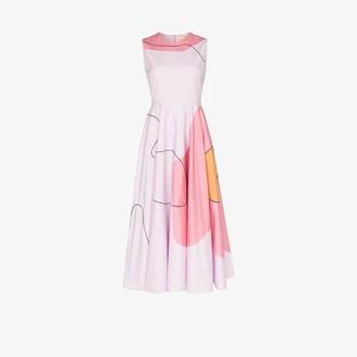 Roksanda Abstract Print Cotton Midi Dress