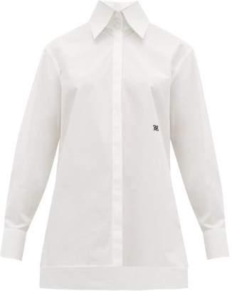 Fendi Logo Embroidered Point Collar Cotton Poplin Shirt - Womens - White