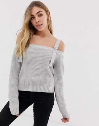 Glamorous cold shoulder blouse-Grey