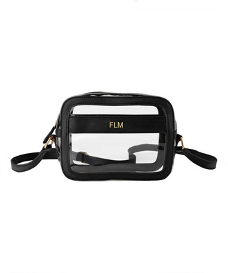 Cathy's Concepts Crossbodies Black - Black & Clear Monogrammed Clear Crossbody Bag