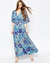 Asos Kimono Sleeve Maxi with Pleated Hem in Mixed Floral Print