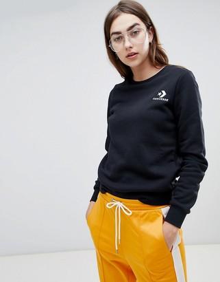Converse Star Chevron Sweat Shirt In Black