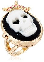 "Betsey Johnson Skeletons After Dark"" Cameo Skull Ring, Size 7"
