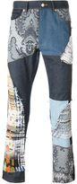 James Long patchwork slim jeans