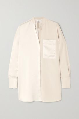 Co Paneled Satin And Crepe De Chine Shirt - Cream
