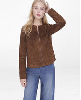 Express No Collar Faux Suede Fringe Jacket
