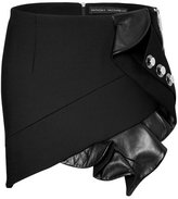 Anthony Vaccarello Mini-Skirt with Leather Ruffle and Button Embellishment