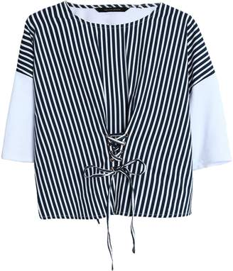 Walter W118 By Baker Betina Lace-up Striped Poplin And Cotton-jersey Top