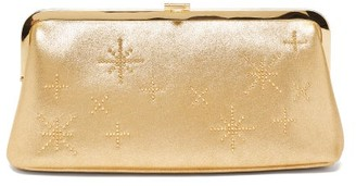 Mark Cross Susanna Crystal-embellished Leather Clutch - Gold