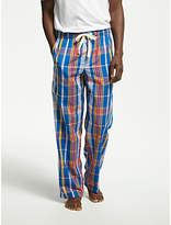 John Lewis Amara Cotton Poplin Check Pyjama Bottoms, Blue/Red