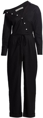 By Any Other Name Off-Shoulder Button Jumpsuit
