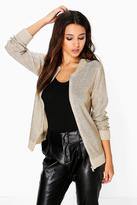 Boohoo Boutique Lucy Metallic Knit Bomber Jacket