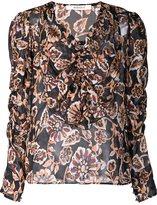 Rodarte semi sheer ruffle front blouse