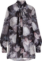 Alexander McQueen Pussy-bow Floral-print Silk-crepon Blouse - Black